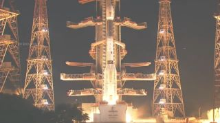 An Indian GLSV rocket carrying the EOS-O3 Earth observation satellite for the Indian Space Research Organisation lifts off from Second Launch Pad of the Satish Dhawan Space Centre on Sriharikota Island, India on Aug. 12, 2021. It failed to reach orbit.