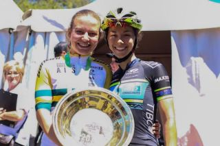 New 2019 elite women's Australian road race champion Sarah Gigante (left) with 2018 champion Shannon Malseed (Image credit: Cycling Australia)