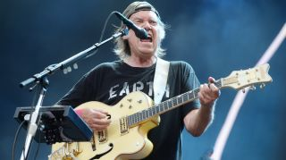 Neil Young performs at the British Summer Time Festival in Hyde Park