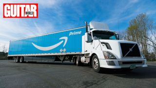 Amazon Prime delivery truck with blue trailer and white cab