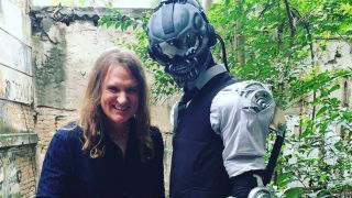 Megadeth bassist David Ellefson with Vic Rattlehead