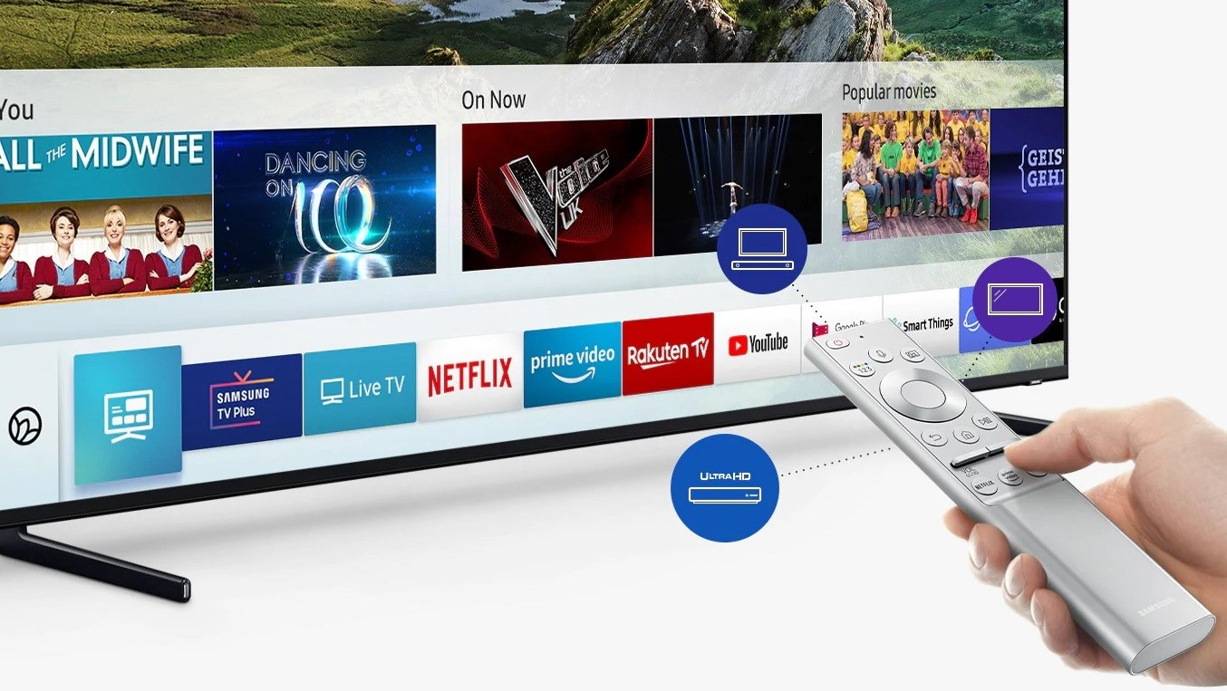 The Samsung Q60R QLED TV screen showing its smart TV capabilities