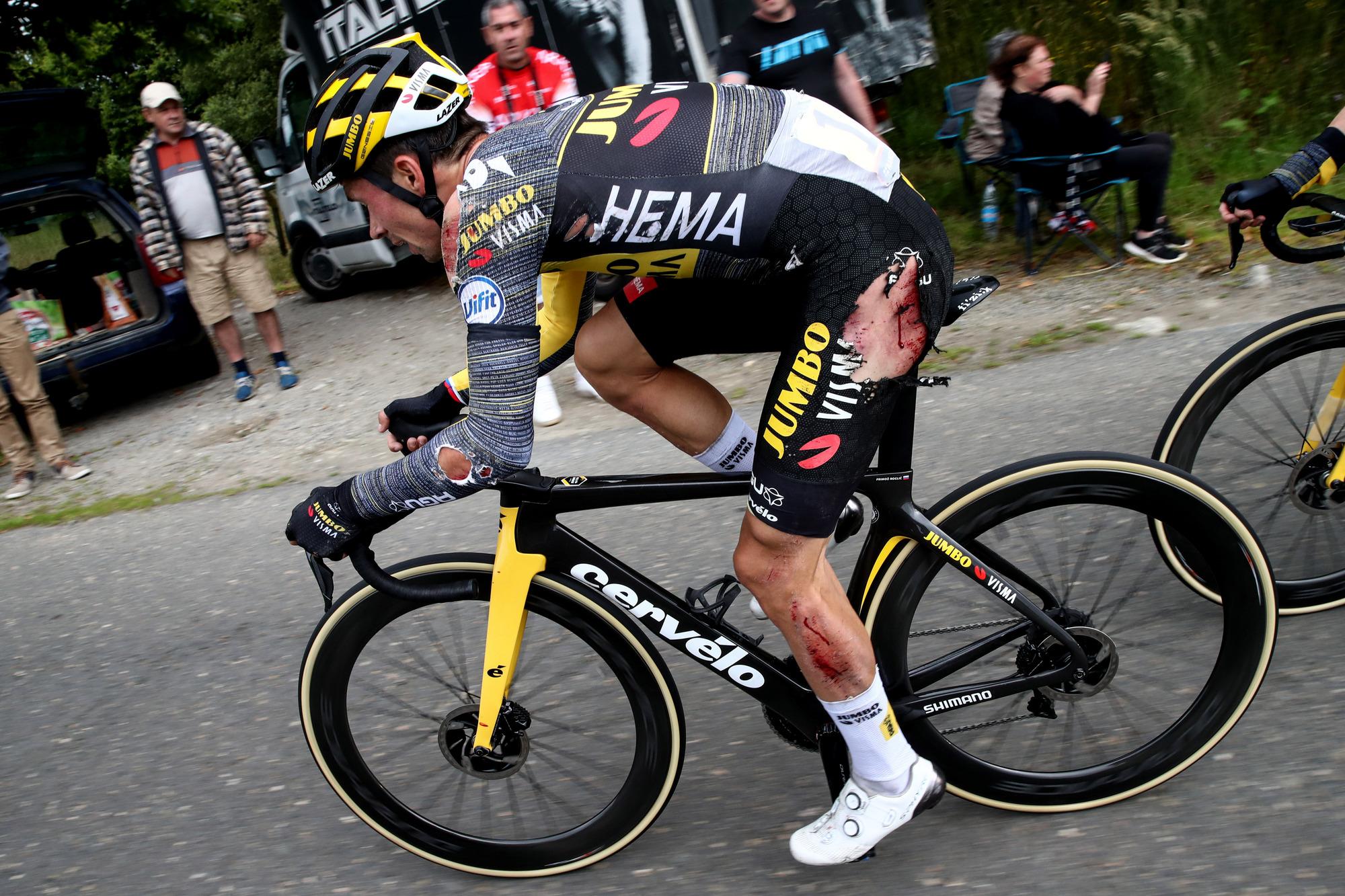 Tour de France 2021 108th Edition 3rd stage Lorient Pontivy 1829 km 28062021 Injury Primoz Roglic SLO Jumbo Visma photo POOL Etienne GarnierBettiniPhoto2021