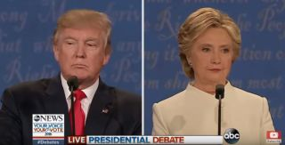 Donald Trump and Hillary Clinton at the final presidential debate on Oct. 19.