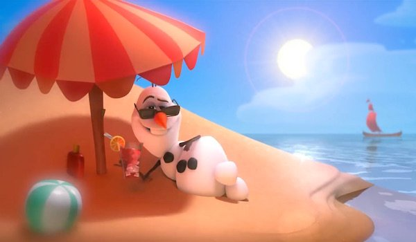 Olaf on the beach in Frozen