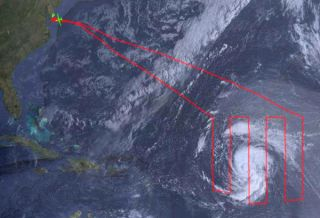 NASA Drones flight path over Tropical Storm Nadine