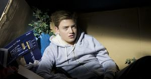 Charlie Hoyland is trapped in a dumpster in Neighbours.