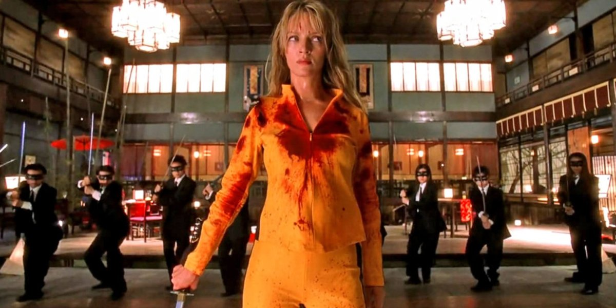 Kill Bill Vol. 1 The Bride with her back turned to some of the Crazy 88s