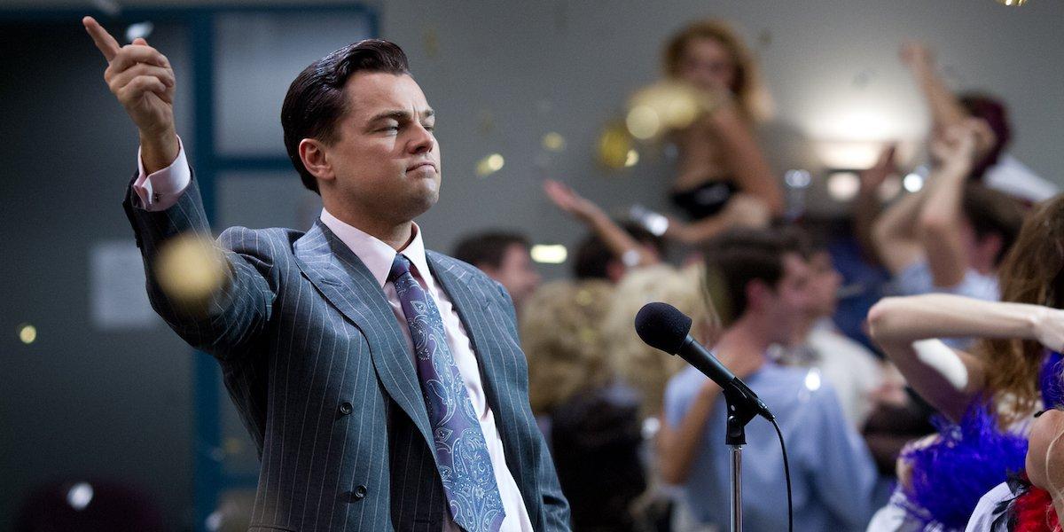 Leonardo DiCaprio as Jordan Belfort in Martin Scorsese's Wolf of Wall Street