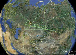 Russian meteor infrasound locations