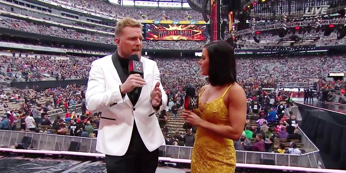 Pat McAfee and Charly Caruso at WrestleMania 35