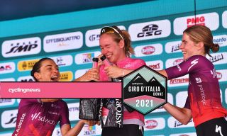 SD Worx swept the Giro d'Italia Donne podium in 2021 with Anna van der Breggen, Ashleigh Moolman-Pasio and Demi Vollering