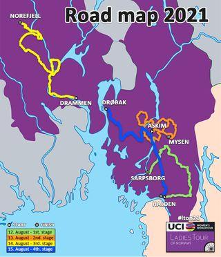 Ladies Tour of Norway 2021 - Map