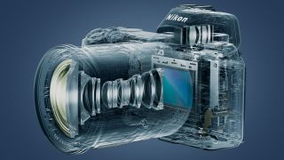A graphic showing the internals of the Nikon Z7 full-frame camera