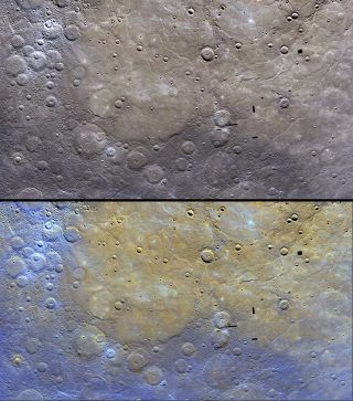 These image of Mercury by NASA's Messenger probe show the distinctive color of the planet's northern plains and their surrounding terrain.