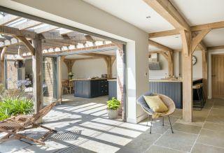 bifold doors in oak frame home