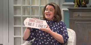 """Aidy Bryant as Trish in """"Birthday Gifts"""" enjoying her birthday presents before things take an unexpected turn on Saturday Night Live"""