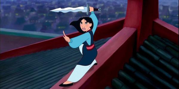 Fa Mulan holding Shan Yu's sword