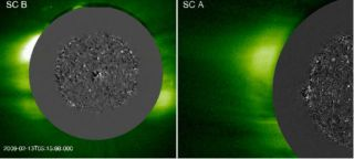 A solar tsunami seen by the twin STEREO spacecraft.