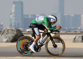 Joao Almeida of UCI WorldTeam Deceuninck Quick Step pedals during the second stage of the UAE Cycling Tour from alHudayriyat Island to alHudayriyat Island on February 22 2021 Photo by Giuseppe CACACE AFP Photo by GIUSEPPE CACACEAFP via Getty Images