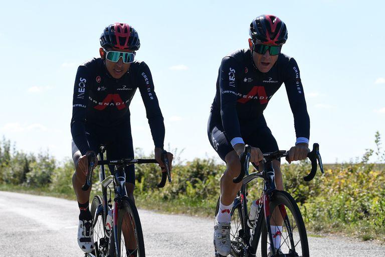 Egan Bernal and Sir Dave Brailsford at the 2020 Tour de France