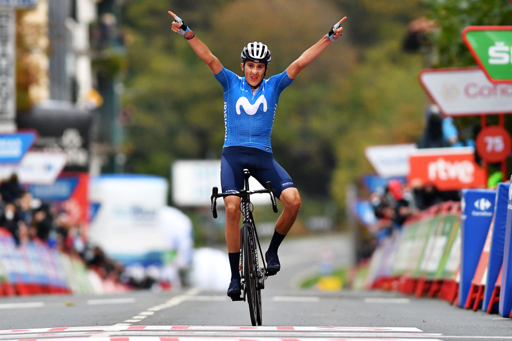 LEKUNBERRI SPAIN OCTOBER 21 Arrival Marc Soler Gimenez of Spain and Movistar Team Celebration during the 75th Tour of Spain 2020 Stage 2 a 1516km stage from Pamplona to Lekunberri lavuelta LaVuelta20 La Vuelta on October 21 2020 in Lekunberri Spain Photo by Justin SetterfieldGetty Images