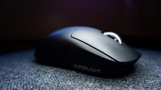 Logitech G Pro X Superlight gaming mouse pictured with dark background