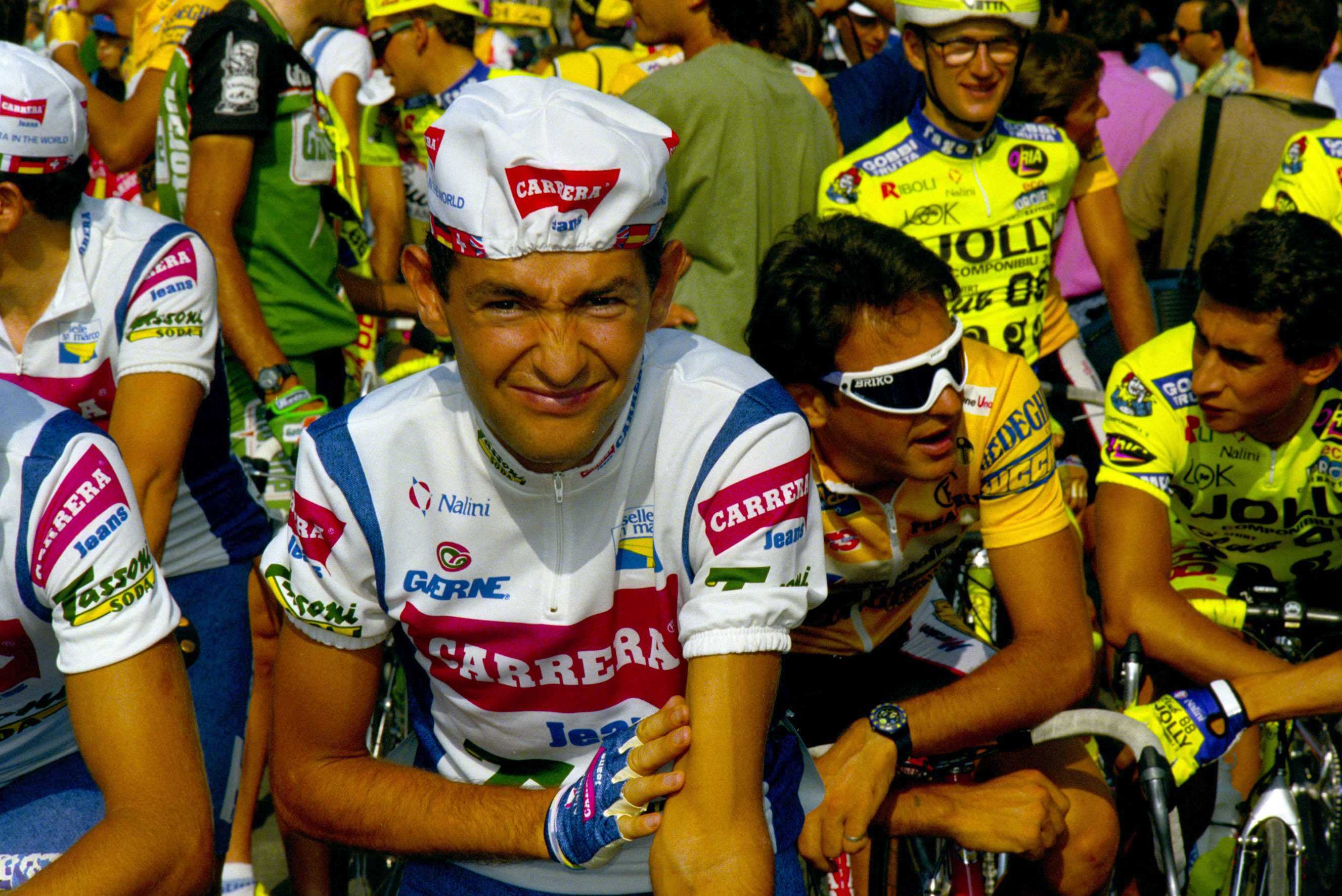 Marco Pantani lines up for his professional debut in Camaiore in 1992.