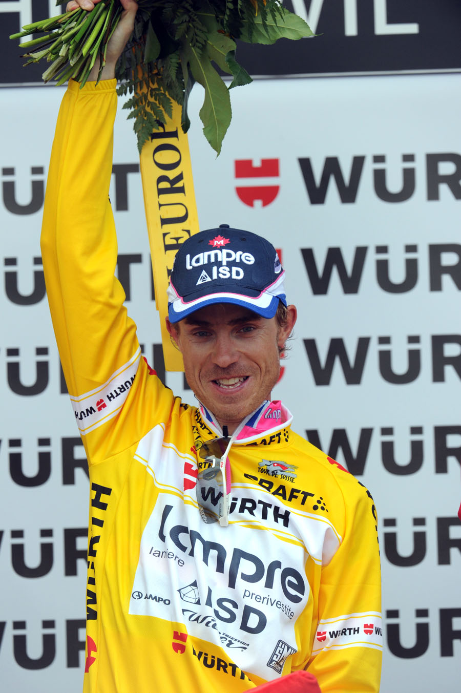 Damiano Cunego on podium, Tour de Suisse 2011, stage four