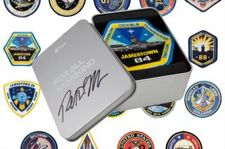 """Icon Heroes' """"For All Mankind"""" Season 2 patches come packaged in a tin authentically autographed by the Apple TV+ series' creator and writer Ronald D. Moore."""