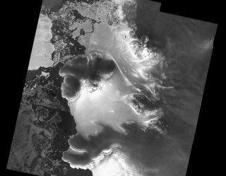 A view of the Dotson ice shelf, courtesy of the ESA satellite Sentinel-1. New research finds an under-ice canyon stretching the length of the shelf.