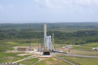 Photo of an Ariane 5 rocket on the launch pad with the ATV Johannes Kepler spacecraft for a Feb. 15, 2011 launch
