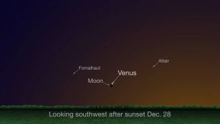 Venus and the moon will share a dazzling conjunction on the evening of Dec. 28, 2019 at sunset.