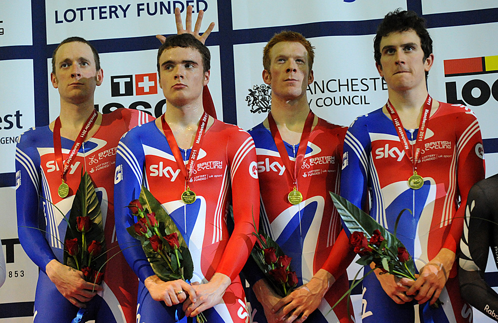 Podium, Britain wins team pursuit, Manchester Track World Cup 2011