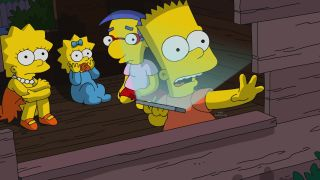 Bart in the treehouse with Lisa, Maggie, and Milhouse