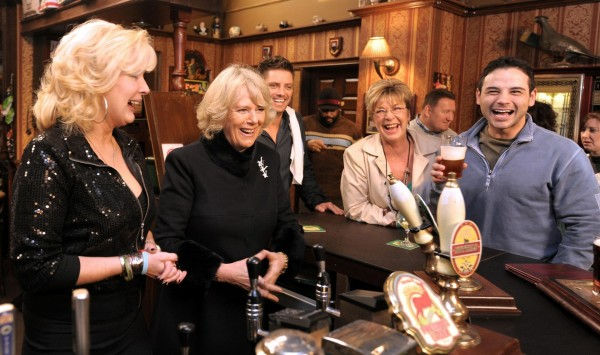 In 2010, of the Duchess of Cornwall meeting actors Beverley Callard (left), Anne Kirkbride (second right) and Ryan Thomas (Andrew Yates/PA)