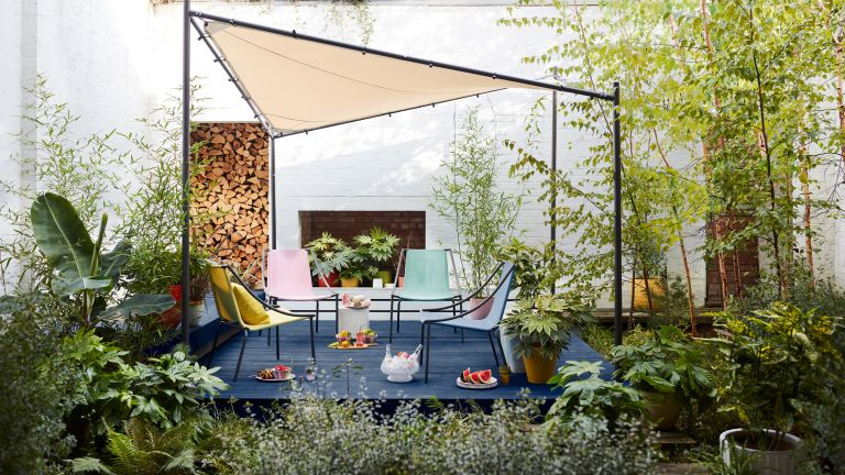 foliage plant: decked courtyard and shade sail