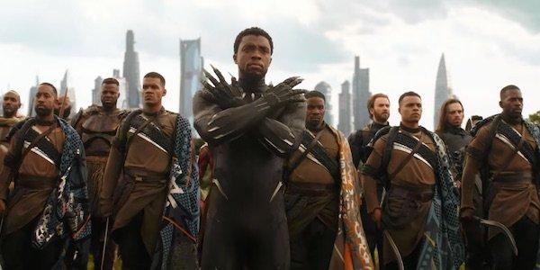 Black Panther and Wakandan warriors in Avengers: Infinity War