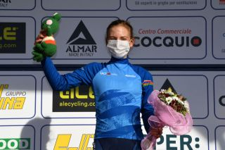 CITTIGLIO ITALY MARCH 21 Podium Sarah Gigante of Australia and Team TIBCO Silicon Valley Bank Blue UCI Womens WorldTour young jersey Celebration during the 45th Trofeo Alfredo BindaComune di Cittiglio 2021 Womens Elite a 1418km stage from Cocquio Trevisago to Cittiglio 257m Mask Covid safety measures Mascot Flowers TrBinda UCIWWT on March 21 2021 in Cittiglio Italy Photo by Tim de WaeleGetty Images