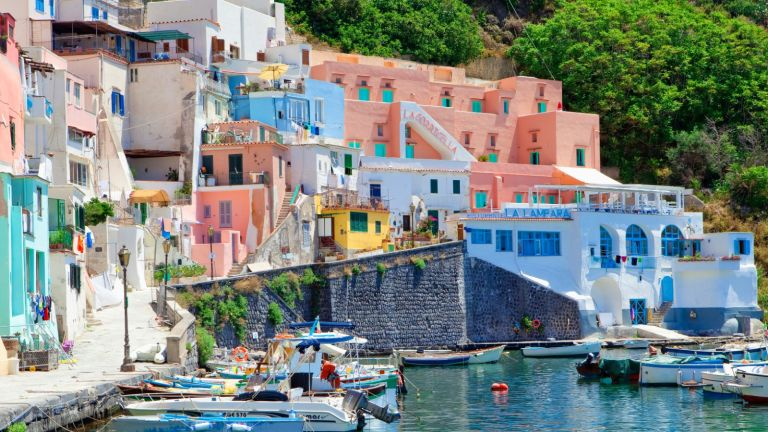 colourful houses and harbour of Procida, Italy