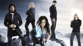 Nightwish posing on a mountain top in 2007
