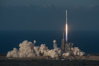 A SpaceX Falcon 9 rocket launches the Inmarsat-5 F4 communications satellite into space from Pad 39A of NASA's Kennedy Space Center in Cape Canaveral, Florida on May 15, 2017.