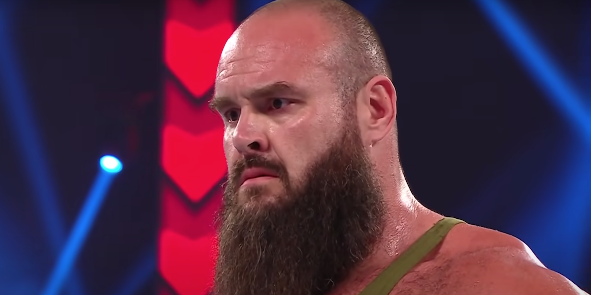 braun strowman watching shane mcmahon leave ring on wwe monday night raw