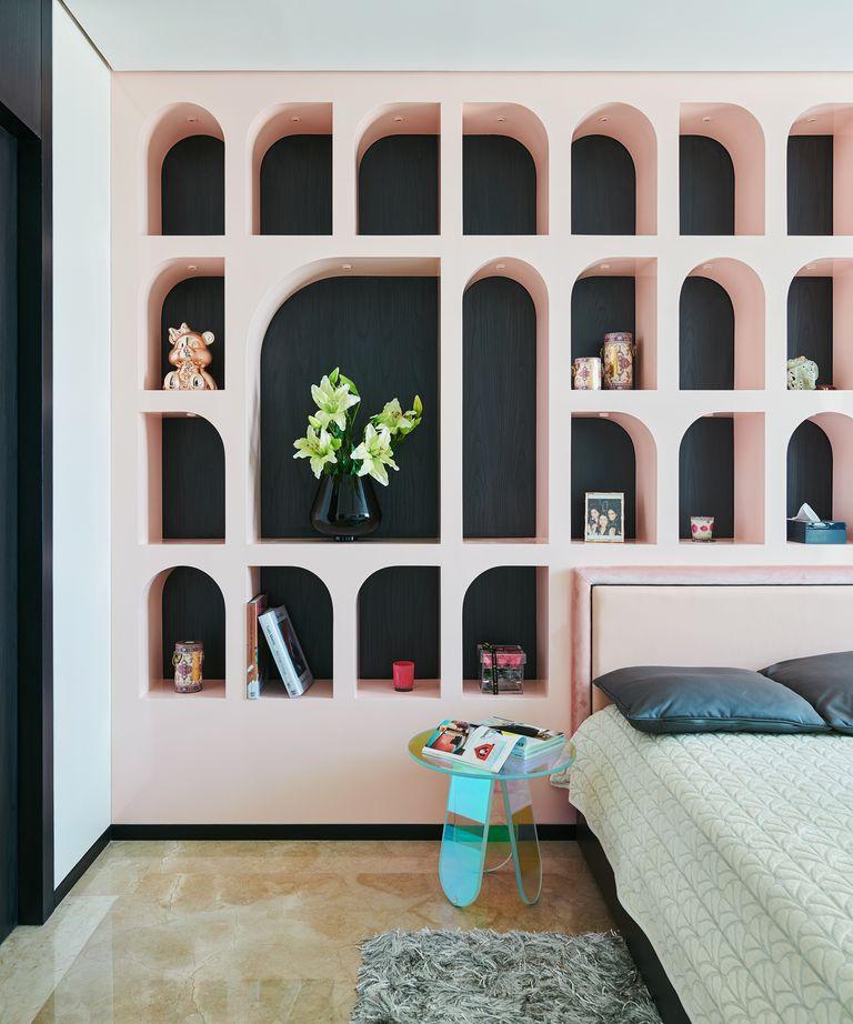 Arc shaped bedroom shelf by Covet House