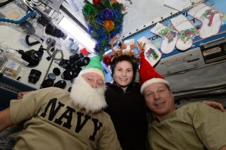 The International Space Station is decked out for Christmas 2014
