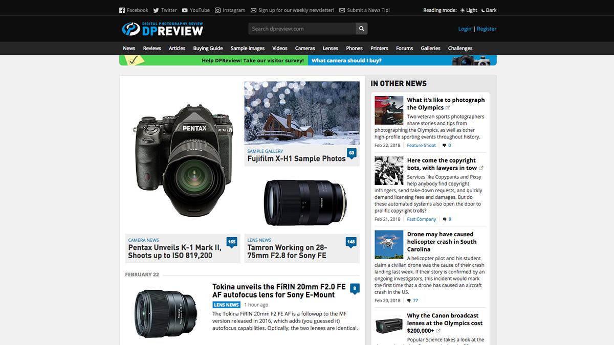 DP Review screenshot