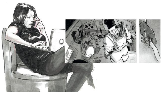 Wanita berbaring di kursi dengan laptopnya, angkasawan di kapal, tangan memegang tongkat