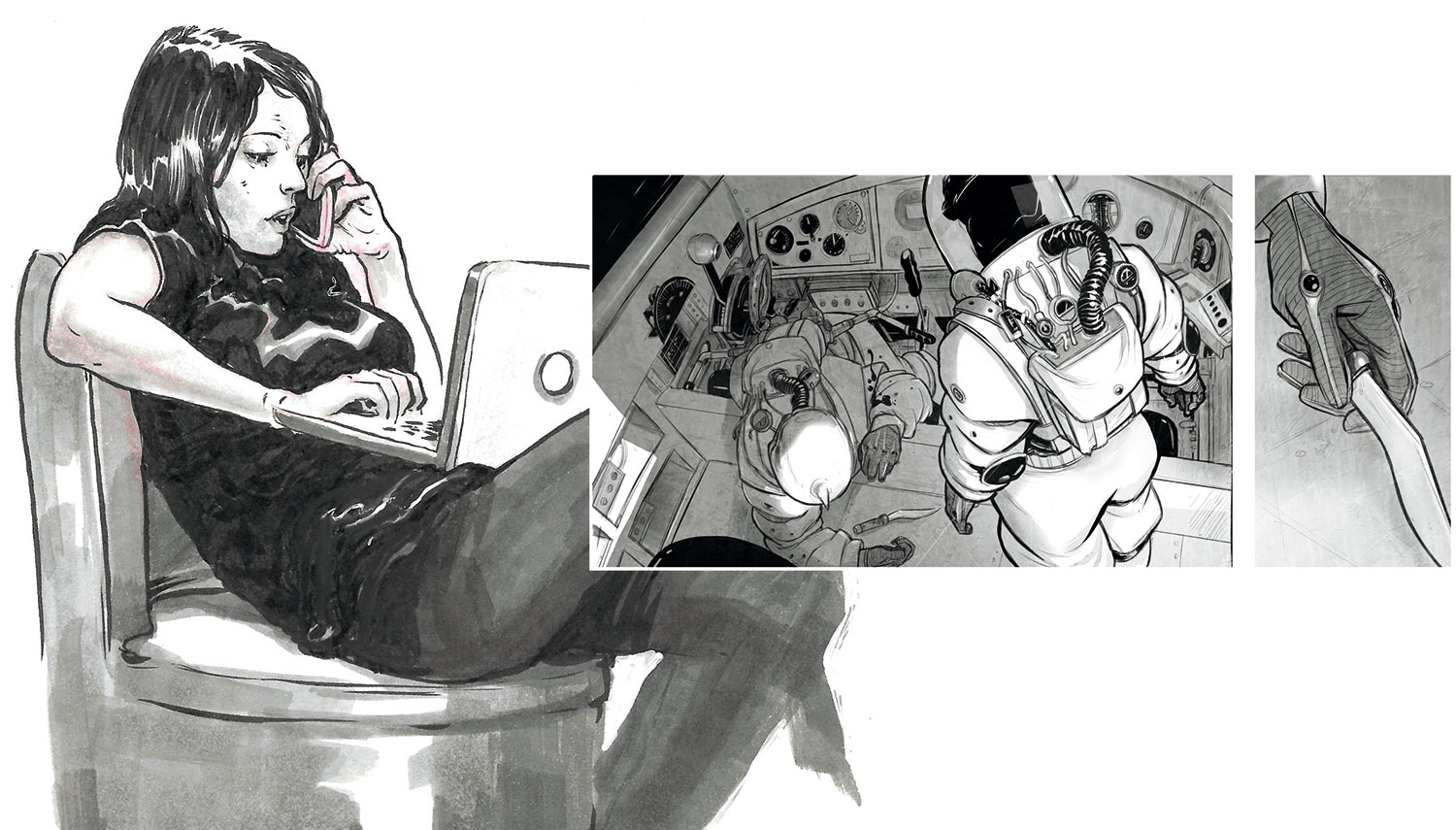 Woman reclining on a chair with her laptop, a spaceman in a ship, a hand grasping a wand