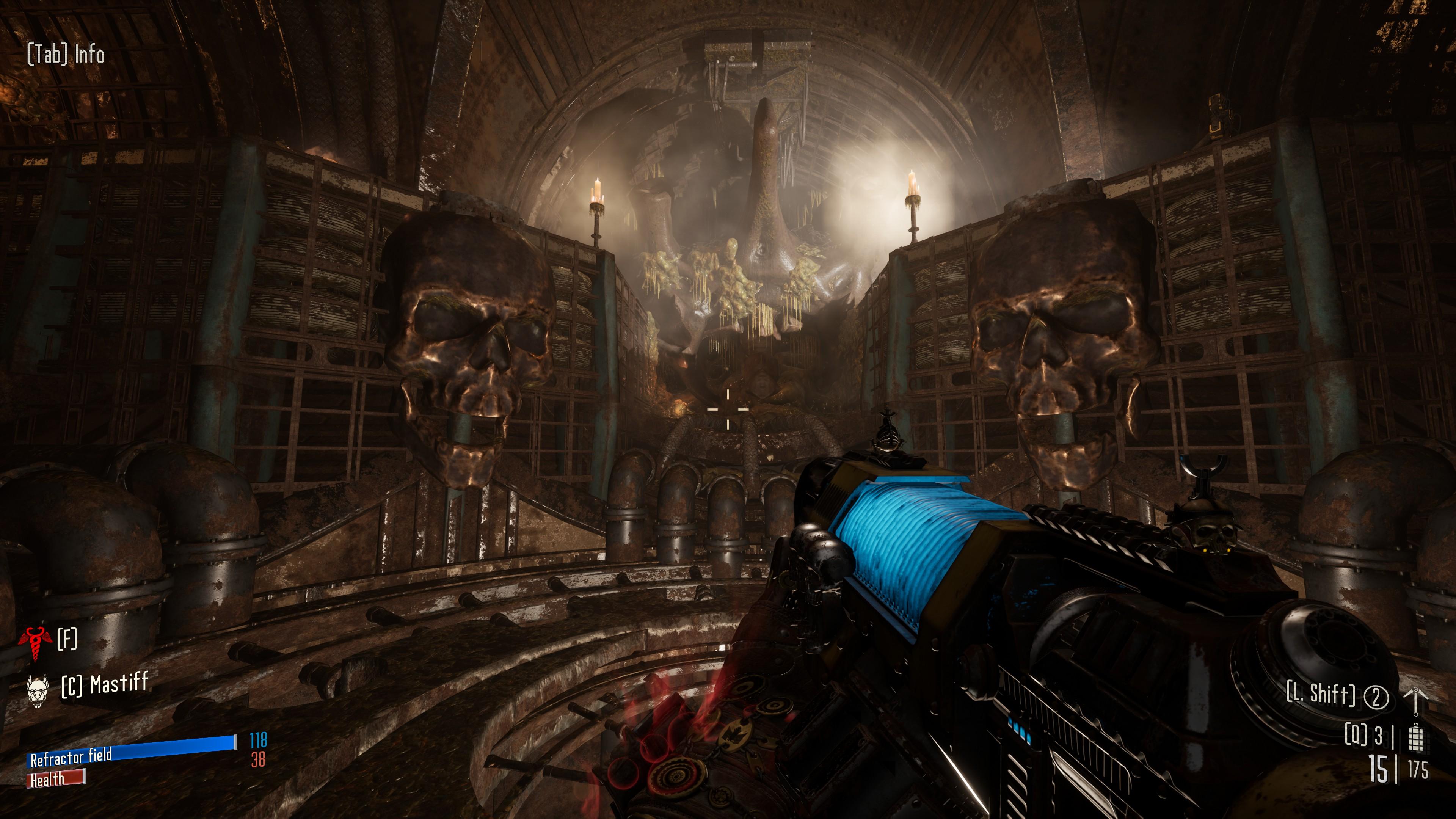 A plasma gun glows blue
