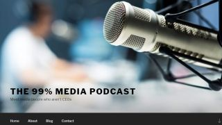 Homepage built in WordPress with large hero image of a microphone